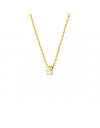 Diamond necklace in yellow gold - 18 K gold: 2.50 Gr