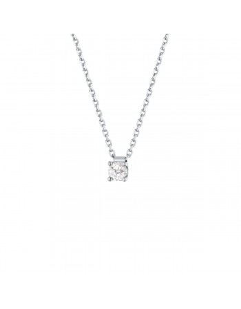 Diamond necklace in white gold - 18 K gold: 2.50 Gr