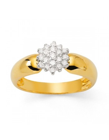 Bague chou diamants corps lisse en or jaune