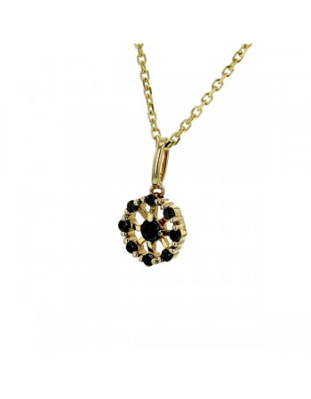 Round flower shape set black diamonds necklace in 9 K gold