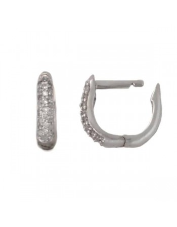 Diamond earrings in white gold - 18 K gold: 2.29 Gr