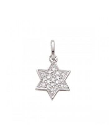 Diamond pendant in white gold - 18 K gold: 0.80 Gr