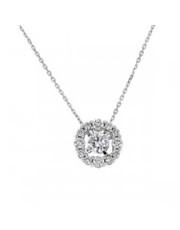 Pendentif solitaire entourage de diamants en or blanc