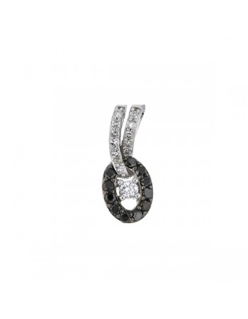 Diamond pendant in white gold - 9 K gold: 1.00 Gr
