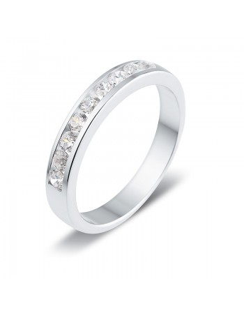 Diamond wedding ring in white gold - 18 K gold: 3.40 Gr