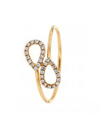Diamond ring in rose gold - 18 K gold: 0.97 Gr