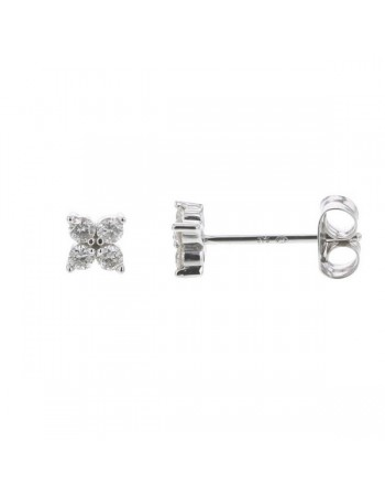Diamond earrings in white gold - 18 K gold: 0.70 Gr