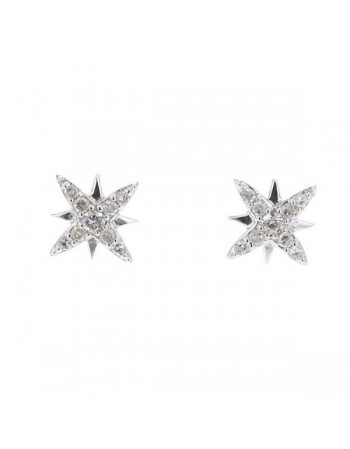 Diamond earrings in white gold - 18 K gold: 0.90 Gr