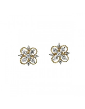 Diamond earrings in yellow gold - 18 K gold: 0.83 Gr