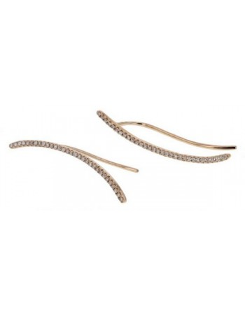 Diamond earrings in rose gold - 18 K gold: 1.95 Gr