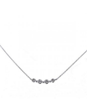 Diamond necklace in white gold - 18 K gold: 1.50 Gr
