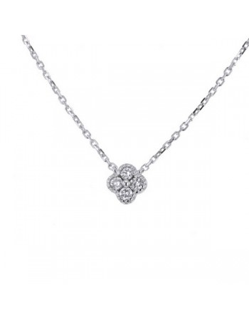 Collier trèfles avec diamants gm en or blanc