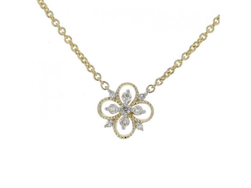 Diamond necklace in yellow gold - 18 K gold: 1.90 Gr