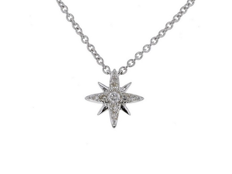 Diamond necklace in white gold - 18 K gold: 2.00 Gr