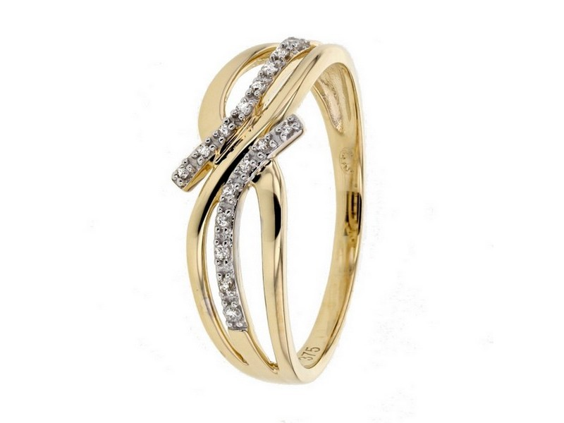 Bague doubles rangs pavé des diamants sertis grains en or jaune
