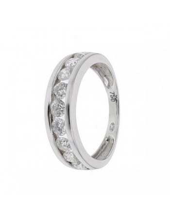 Diamond wedding ring in white gold - 18 K gold: 2.30 Gr
