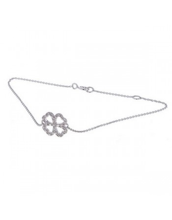 Four clover leaf sign shape bracelet with 2 diamonds in 18 K gold