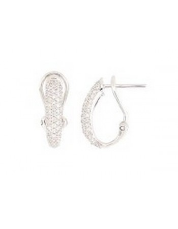 Diamond earrings in white gold - 18 K gold: 2.75 Gr