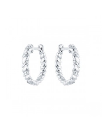 Diamond earrings in white gold - 18 K gold: 2.50 Gr