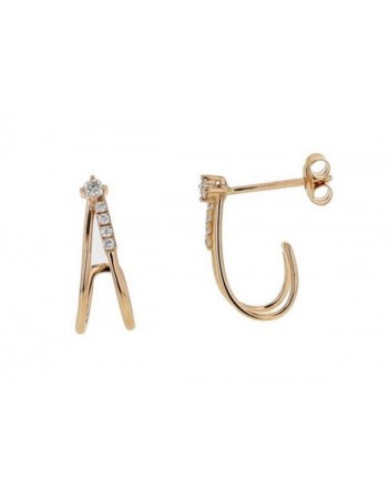 Diamond earrings in rose gold - 18 K gold: 1.60 Gr