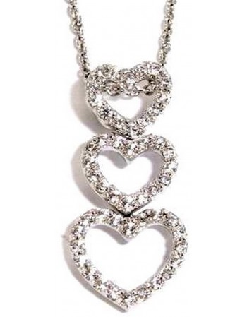 3 hearts pave set diamonds pendant in 18 K gold