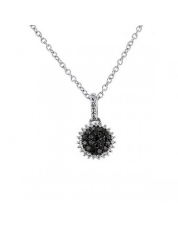 Pendentif chou diamants diamants diamants noirs en or blanc