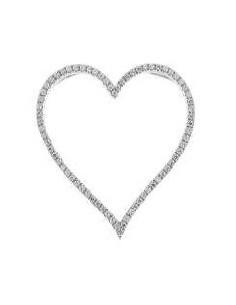 Pendentif grand coeur pavé de diamants en or blanc