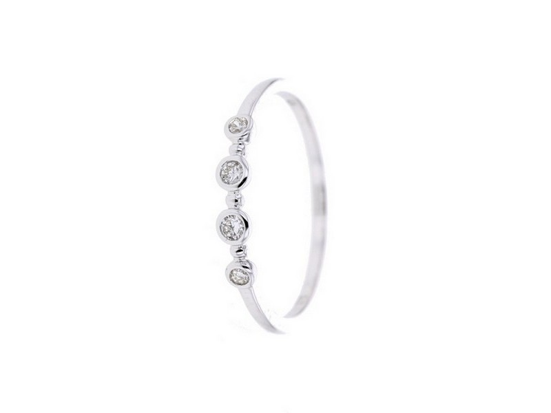 Diamond ring in white gold - 18 K gold: 1.35 Gr