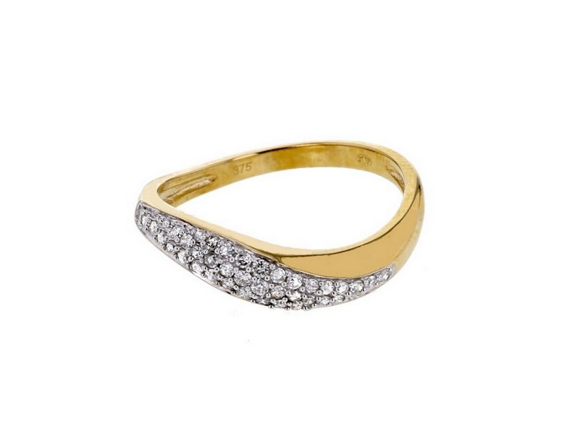 Bague pavé en vague diamants en or jaune
