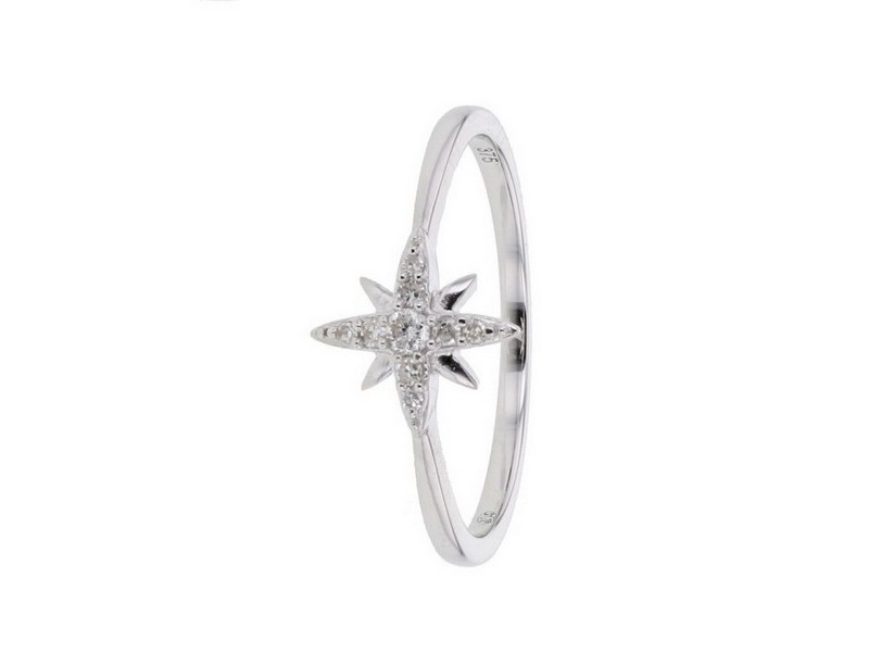Diamond ring in white gold - 18 K gold: 1.45 Gr