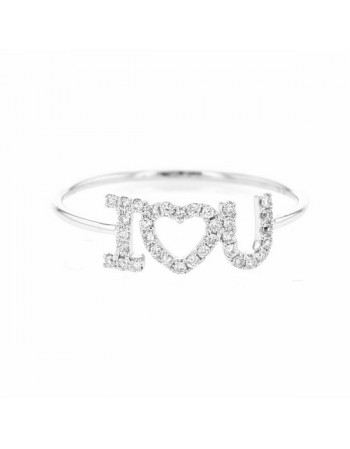 Bague i love you pavé de diamants en or blanc