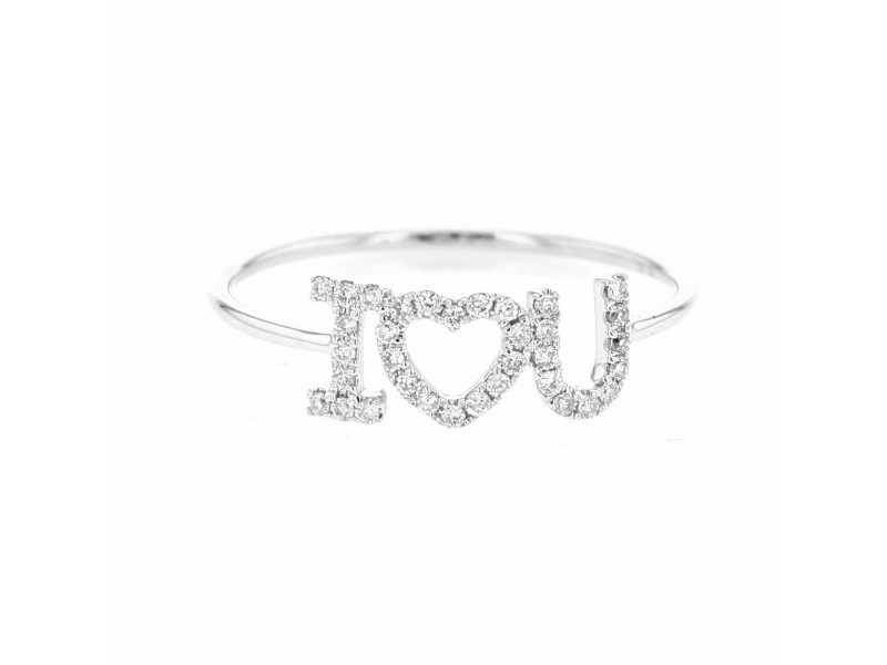 I love you inscripition ring pave set in 18 K gold