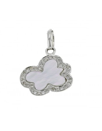 Cloud shape pave set diamond pendant in 18 K gold