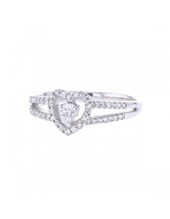 Diamond ring in white gold - 18 K gold: 3.64 Gr
