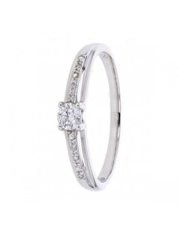 Diamond ring in white gold - 18 K gold: 1.90 Gr