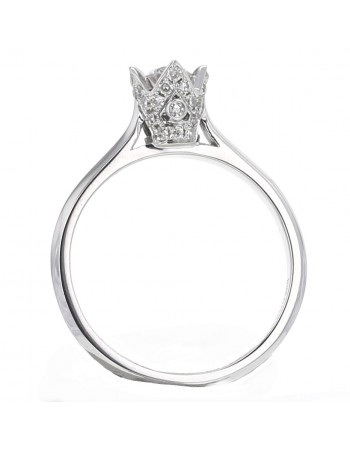 "Solitaire ring with diamond set crown ""Princess"" in 18 K gold"