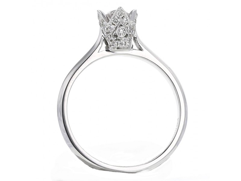 """Solitaire ring with diamond set crown """"Princess"""" in 18 K gold"""