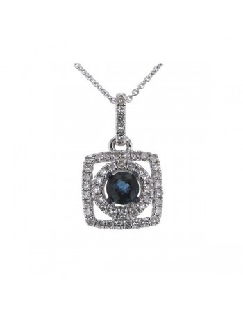 Sapphire and diamonds necklace in white gold - 18 K gold: 2.80 Gr