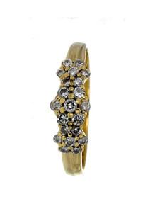 Bague 3 choux diamants en or jaune