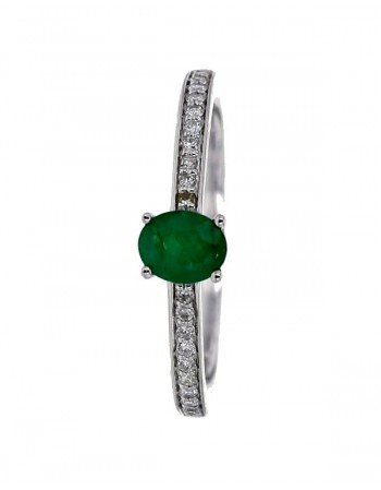 Emerald and diamonds ring in white gold - 18 K gold: 2.00 Gr