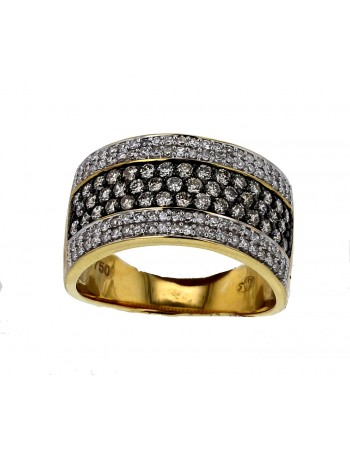 Pave set ring with brown and white diamonds in 18 K gold