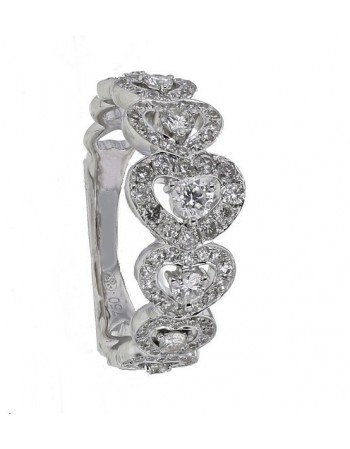 """Diamond pave set hearts wedding band """"Déclaration"""" in 18 K gold"""