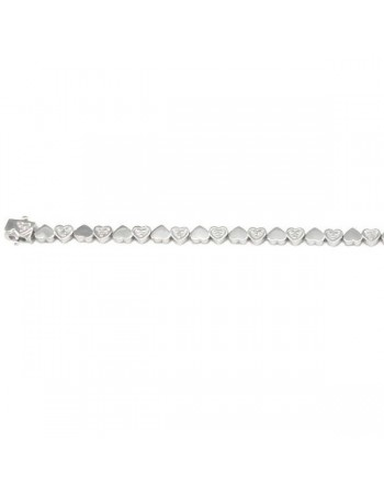 Diamond tennis bracelet heart shaped links in silver 925/1000
