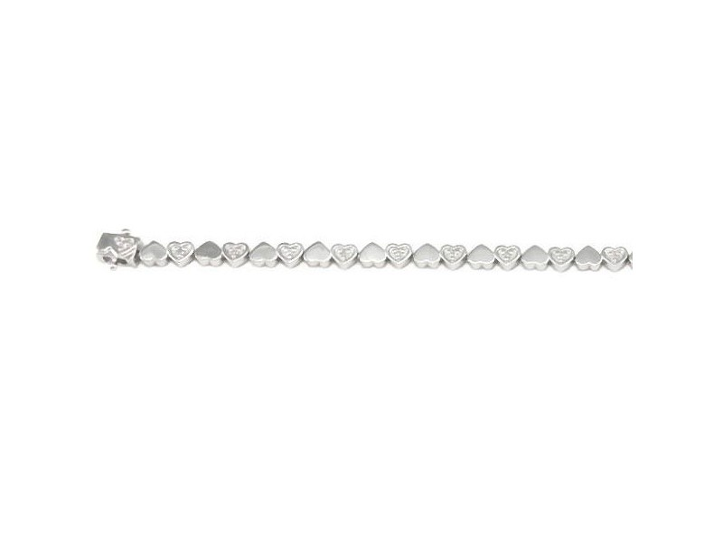 Bracelelet tennis cœurs diamants en argent