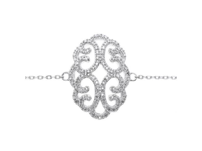Bracelet filigree shape pave set diamonds in silver 925/1000