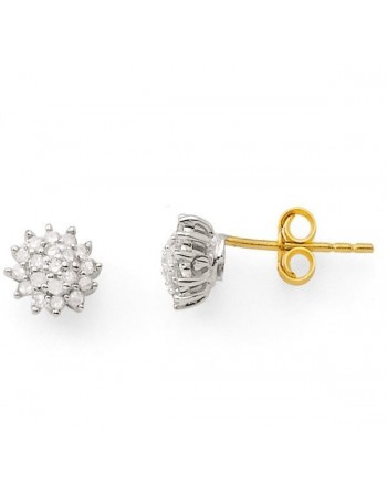Boucles d'oreilles chou diamants en or jaune