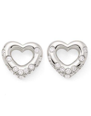 Heart shaped earrings with diamonds in silver