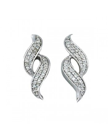 Plaits of diamonds earrings in silver