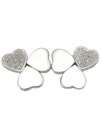 Heart shape diamond set earrings in silver