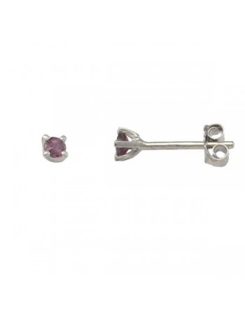 Bezel-set ruby stud earrings in 9 K gold